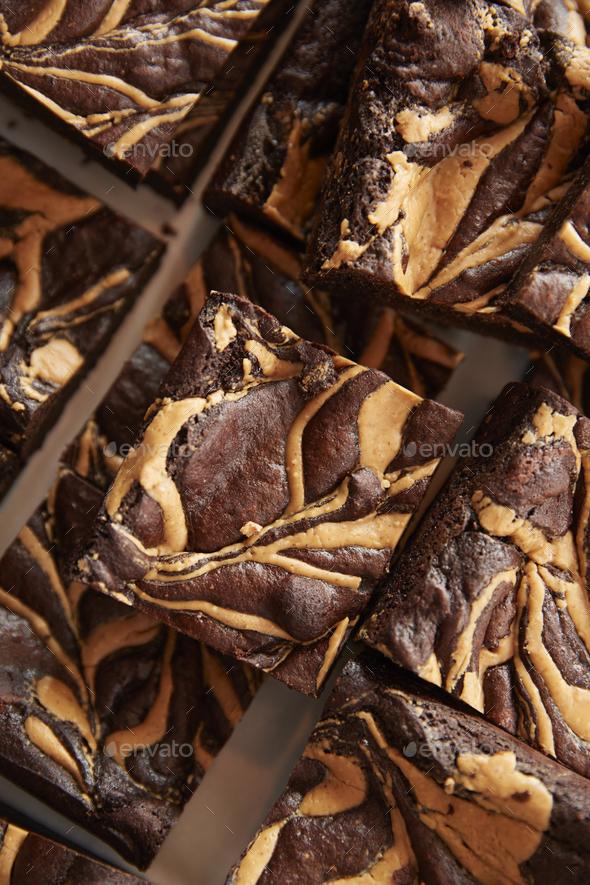 Display Of Freshly Baked Peanut Brownies In Coffee Shop - Stock Photo - Images