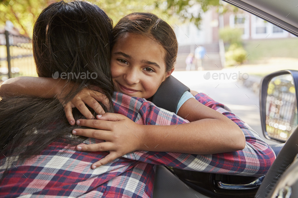 Mother In Car Dropping Off Daughter In Front Of School Gates - Stock Photo - Images