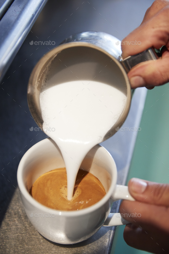 Close Up Of Male Barista Using Coffee Machine In Cafe - Stock Photo - Images