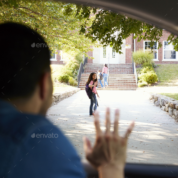 Father In Car Dropping Off Daughter In Front Of School Gates - Stock Photo - Images