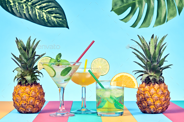 Pineapple with Cocktail - Stock Photo - Images