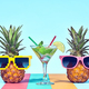 Two Hipster Pineapple in Sunglasses on Beach - PhotoDune Item for Sale