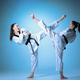 The studio shot of group of kids training karate martial arts - PhotoDune Item for Sale