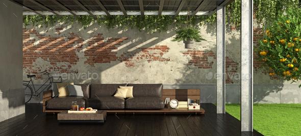 Garden with iron pergola - Stock Photo - Images
