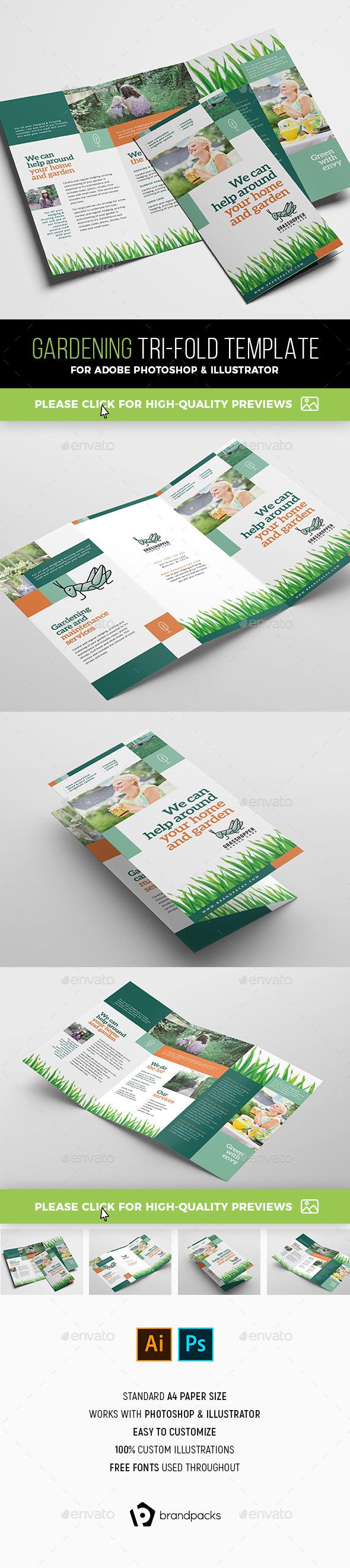 Gardening Tri-Fold Brochure Template - Corporate Brochures