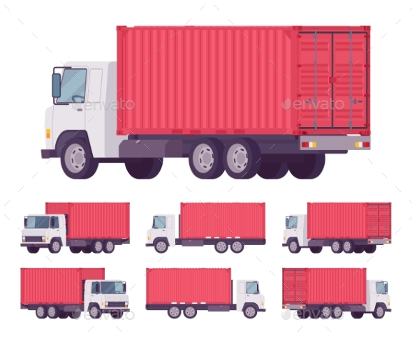 Euro Truck with Red Metal Container - Man-made Objects Objects