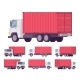 Euro Truck with Red Metal Container