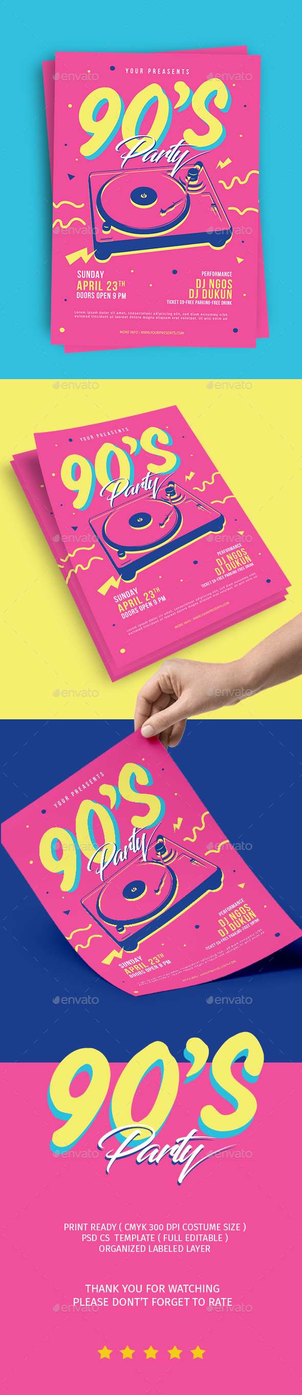 90's Music Event Flyer - Flyers Print Templates