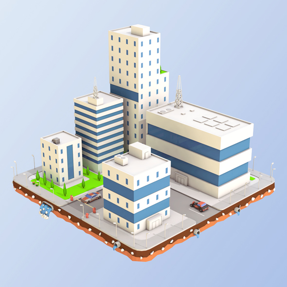 Low Poly City Block Factory Buildings - 3DOcean Item for Sale
