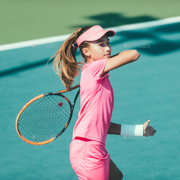Tennis girl blue 6104 f3 - Stock Photo - Images