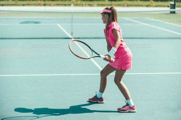 Tennis girl blue 6344 f3 - Stock Photo - Images