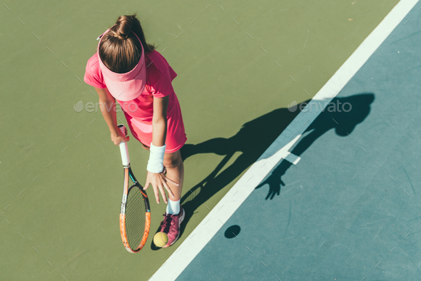 02 tennis girl blue 7077 f3 - Stock Photo - Images