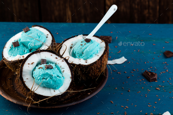 Blue ice cream in coconut bowl. - Stock Photo - Images