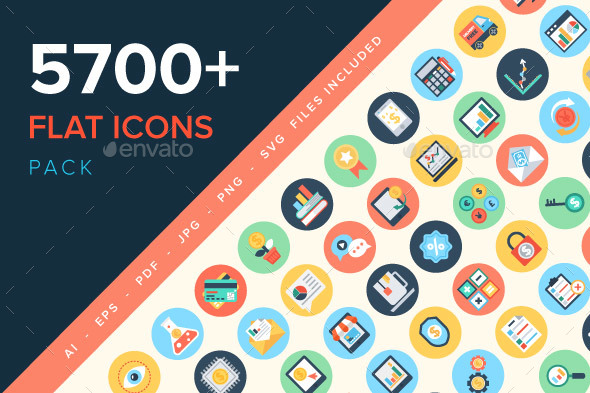 5700+ Flat Icons Pack - Icons