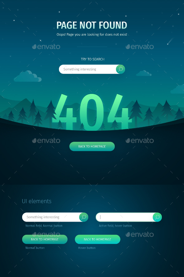 404 Error Page: Night Landscape - 404 Pages Web Elements