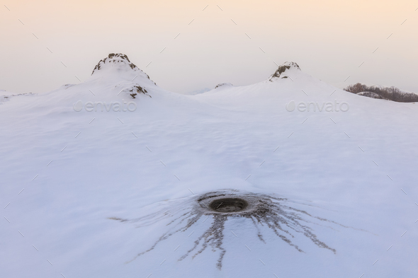 Mud Volcanoes in winter - Stock Photo - Images
