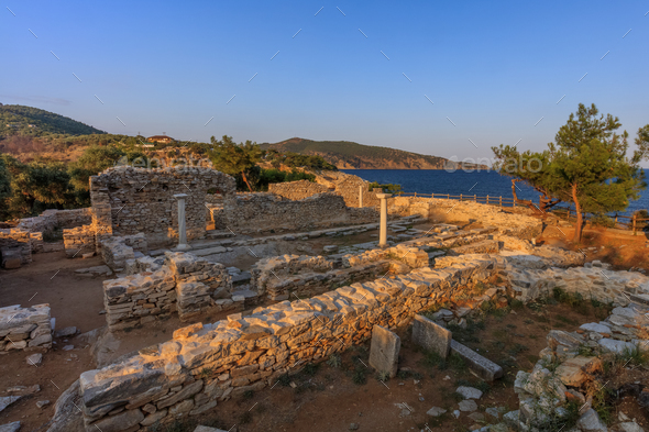 Ruins of ancient village in Archaeological site of Aliki. Thassos island, Greece - Stock Photo - Images