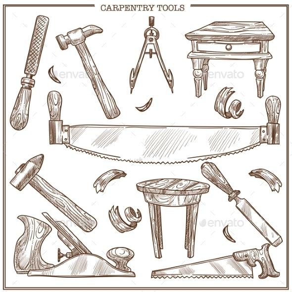 Carpentry Tools Sketch Vector Icons Set - Miscellaneous Vectors