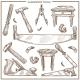 Carpentry Tools Sketch Vector Icons Set