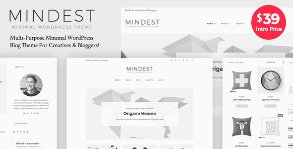Mindest - Minimal WordPress Blog Theme - Personal Blog / Magazine
