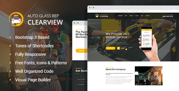 ClearView - Auto Glass Replacement and Window Tinting HTML Template with Visual Builder