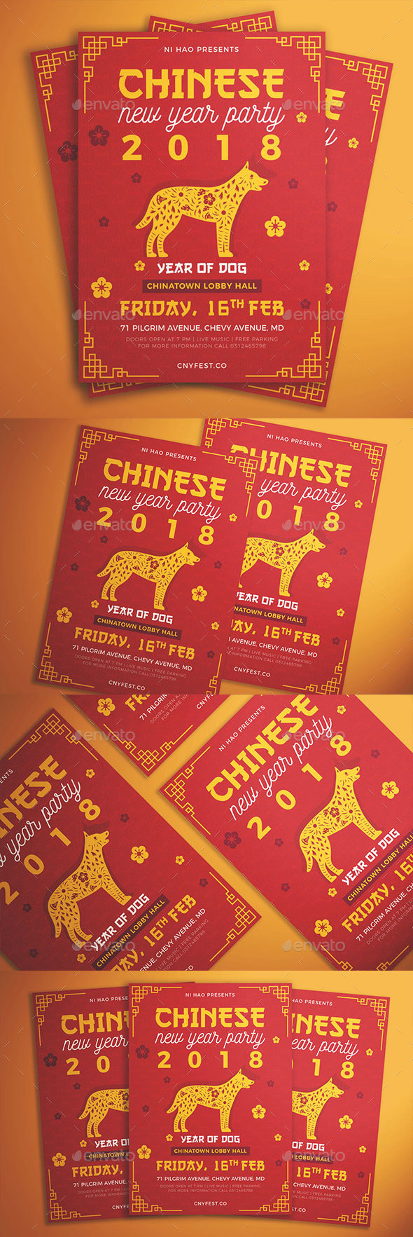 Chinese New Year Party Flyer - Flyers Print Templates
