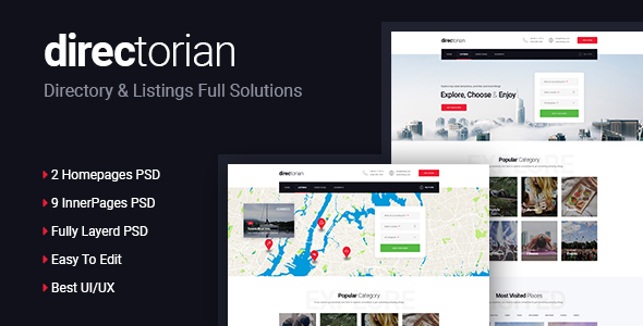 Directorian Directory & Listings PSD Template - Travel Retail