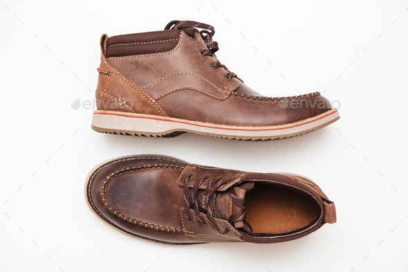 A brown leather man shoes isolated white. Top view - Stock Photo - Images