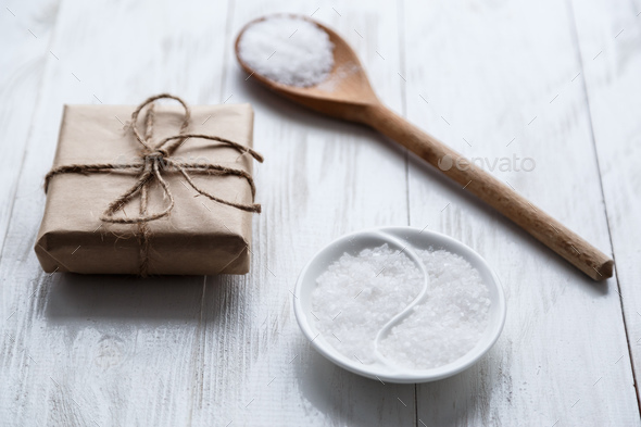 sea salt on wooden background - Stock Photo - Images