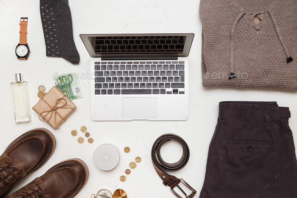 Top view of men clothes and accessories on white background - Stock Photo - Images