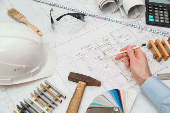 Concept architects or engineer holding  - Stock Photo - Images