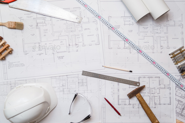 Architect or engineer workplace with drawings and tools, top view - Stock Photo - Images