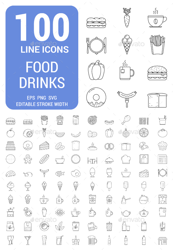 100 Food and Drinks Line Icons - Food Objects