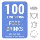 100 Food and Drinks Line Icons - GraphicRiver Item for Sale
