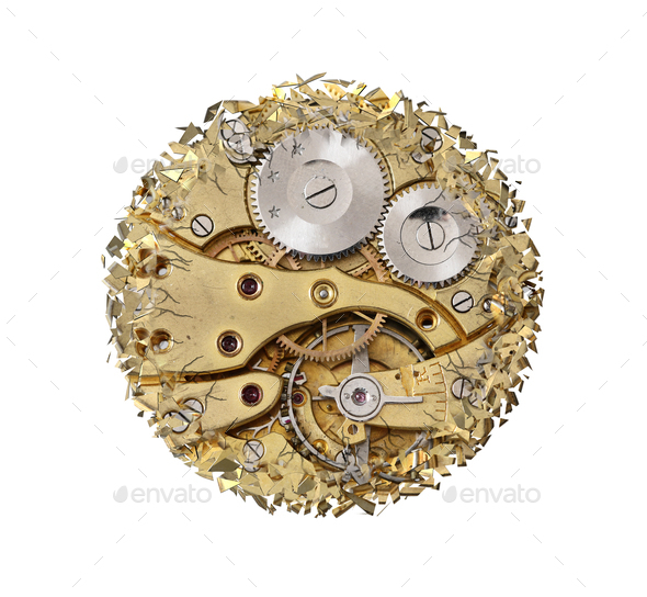 Breaking apart clockwork mechanism - Stock Photo - Images