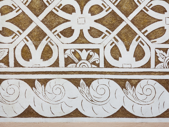Sgraffito - Renaissance decoration of plaster facade by scraping - Stock Photo - Images