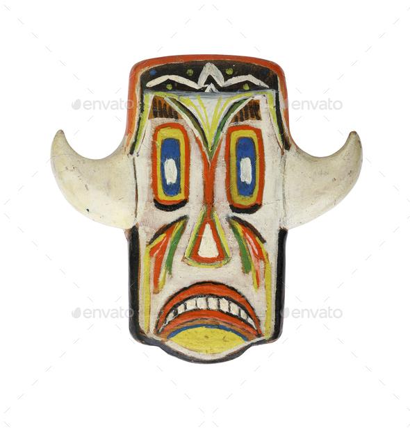 Grinning mask on white background - Stock Photo - Images
