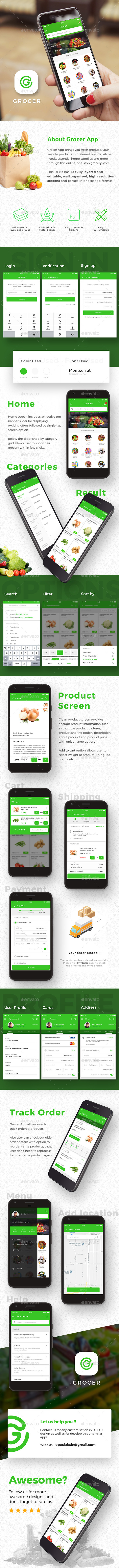 Grocery App UI For Android & iOS - Grocer - User Interfaces Web Elements