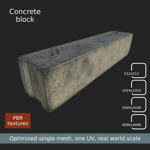 Concrete block - game low poly - 3DOcean Item for Sale