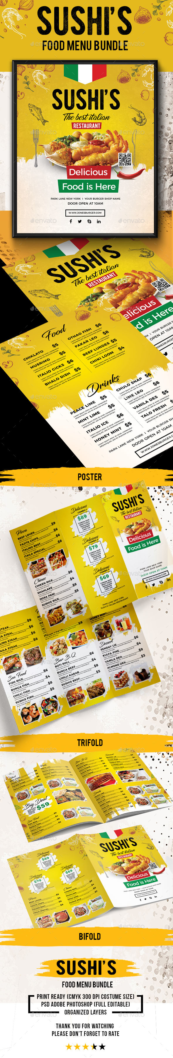 Sushi's Food Bundle - Food Menus Print Templates