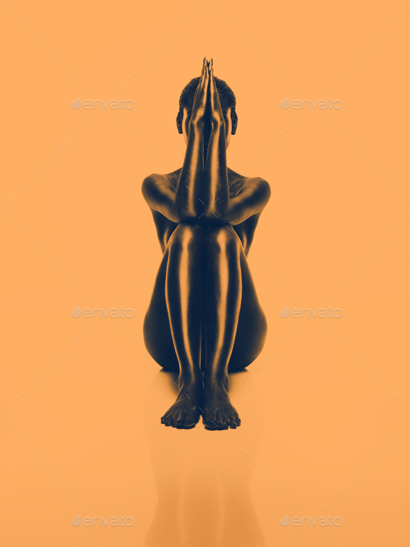 artistic nude woman, geometric position, orange background - Stock Photo - Images