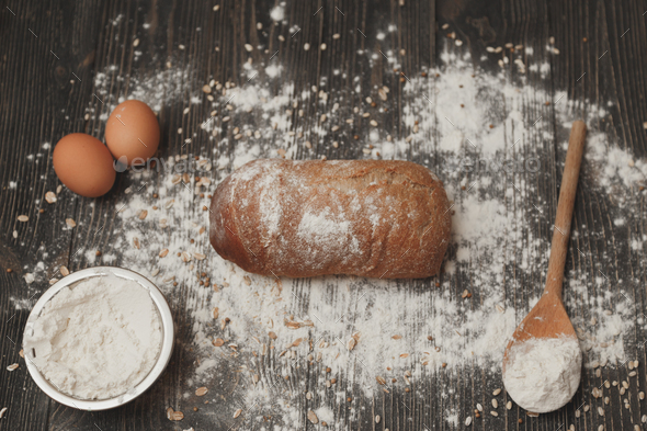 Concept of baking homemade bread. The ingredients and the as it is. - Stock Photo - Images