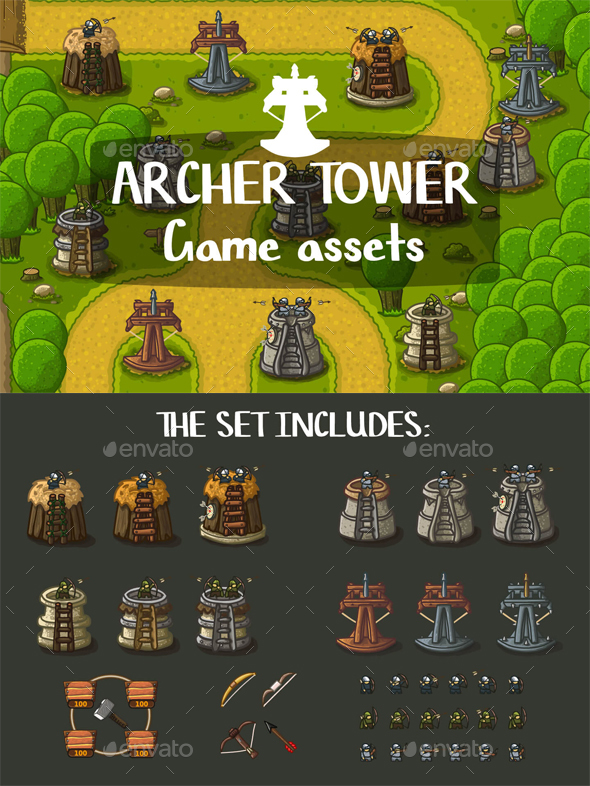 Archer Tower Game Objects - Miscellaneous Game Assets