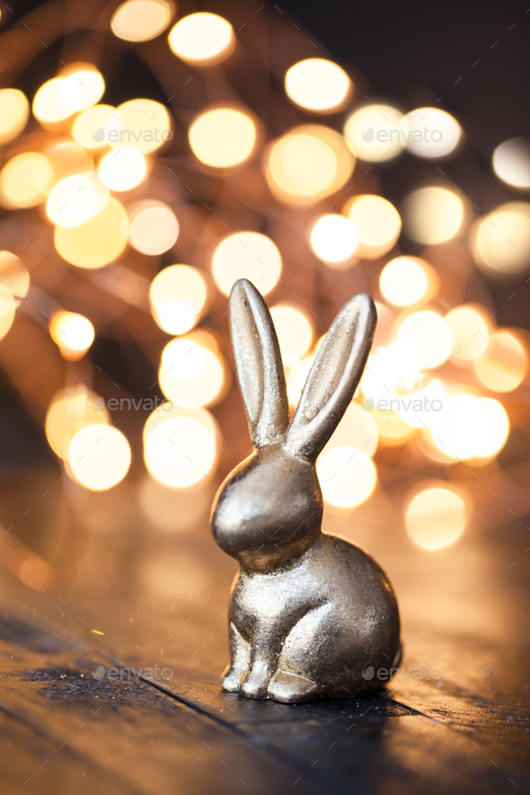 Golden easter bunny - Stock Photo - Images