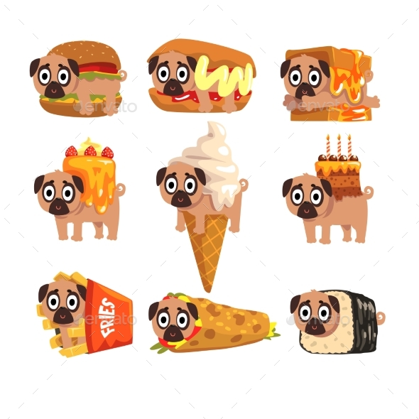 Pug Dog Character as Fast Food - Food Objects