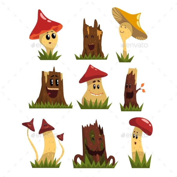 Mushrooms Characters Set - Miscellaneous Characters
