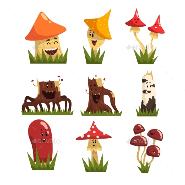Mushrooms Characters with Colorful Caps Set - Miscellaneous Characters