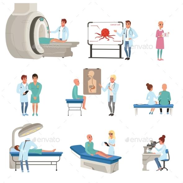 Medical Diagnostic and Treatment of Cancer Set - Health/Medicine Conceptual