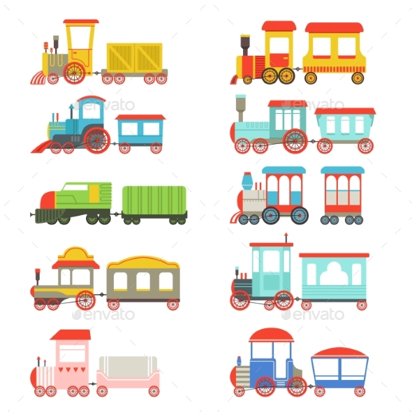 Toy Trains Set - Miscellaneous Vectors