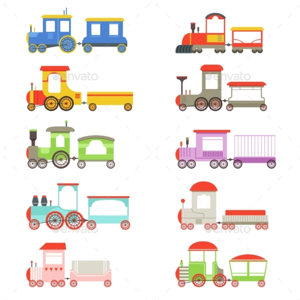 Toy Locomotives and Wagons Set - Miscellaneous Vectors